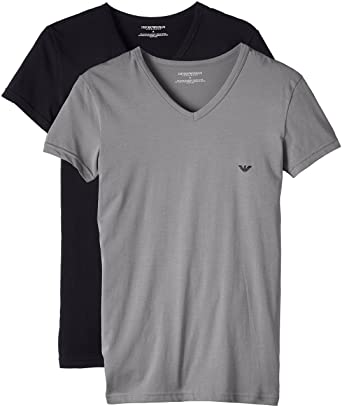 Emporio Armani 2-Pack Stretch Cotton V-Neck Men's T-Shirts, Black ...