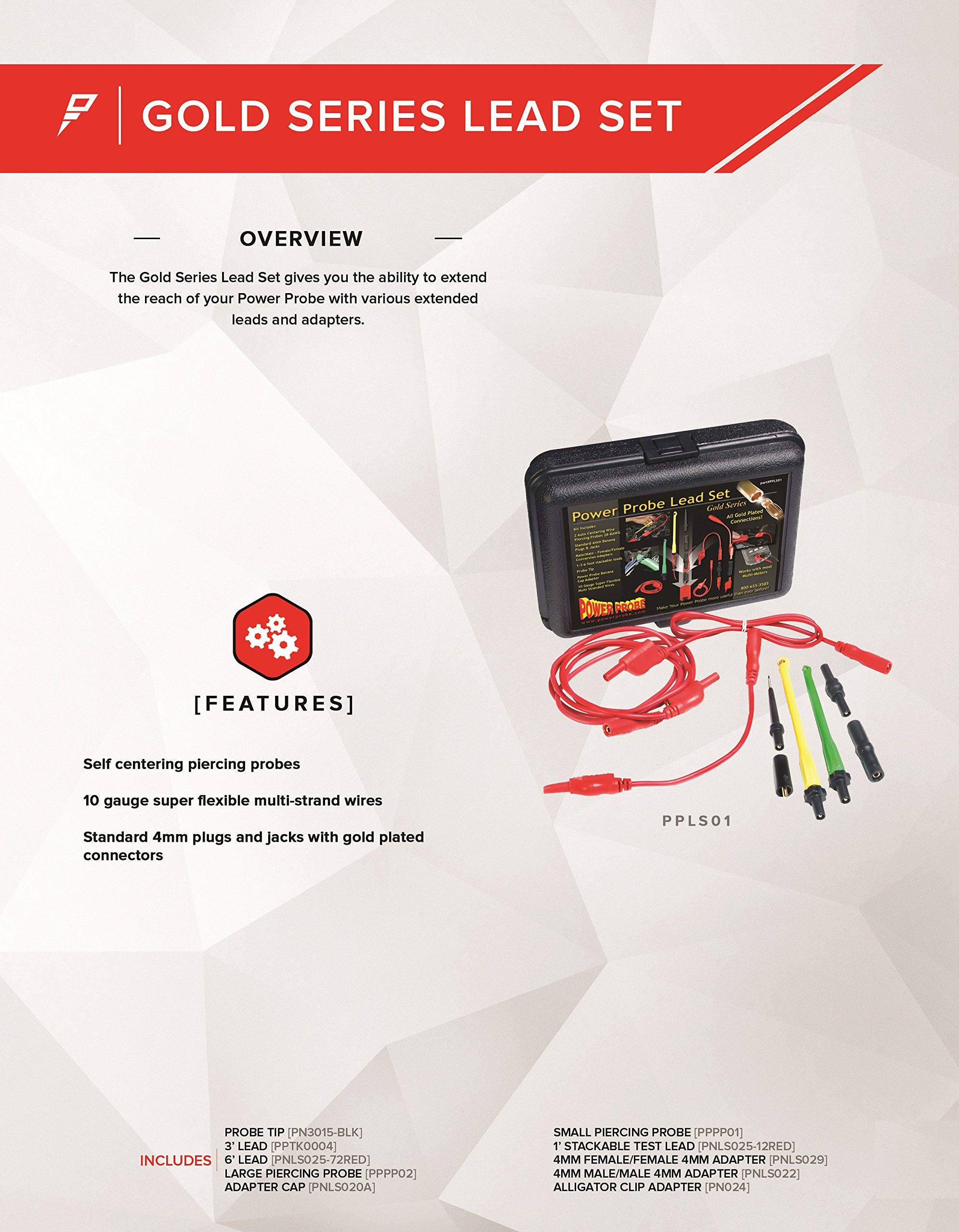 Power Probe Lead Set (PPLS01) [Car Diagnostic Test Tool, Self-Centering Piercing Probes, Super Flexible Multi-Strand Wires, Gold Plated Connectors] by Power Probe (Image #2)