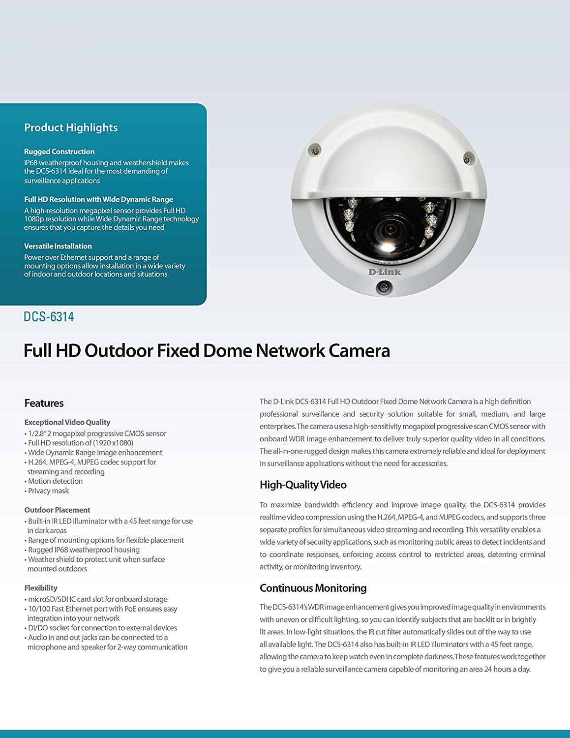 Amazon D Link 2 MP Full HD WDR Outdoor Dome IP Camera DCS 6314 Photo