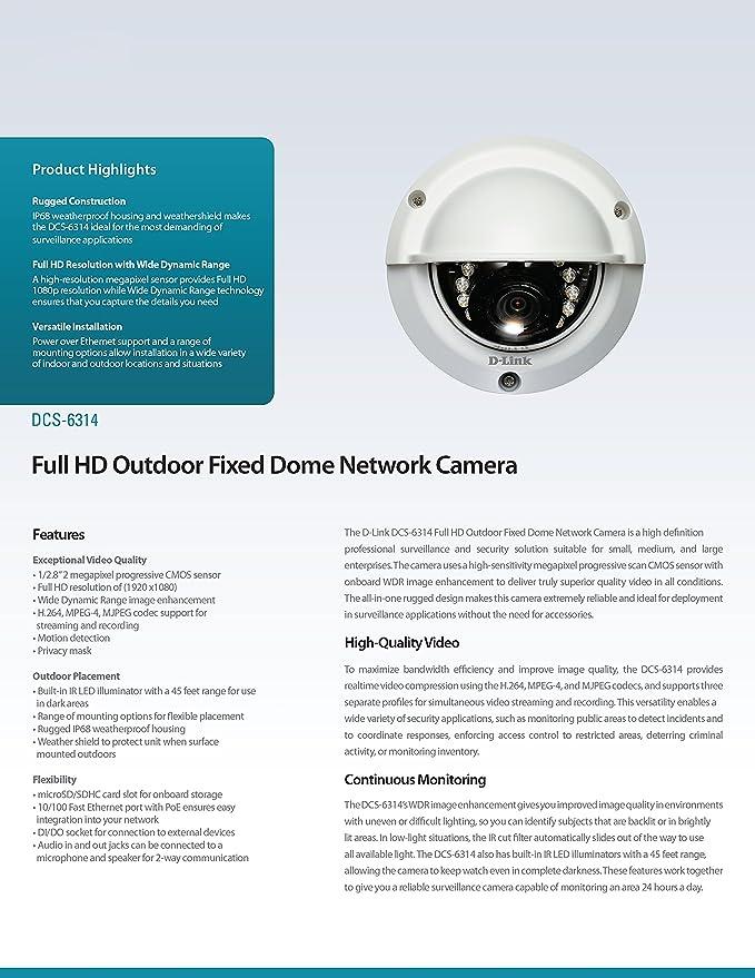 Amazon com : D-Link 2 MP Full HD WDR Outdoor Dome IP Camera (DCS