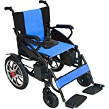 2018 NEW Comfy Go Electric Wheelchair - Foldable Lightweight Heavy Duty Lithium Battery Electric Power Wheelchair (Blue)