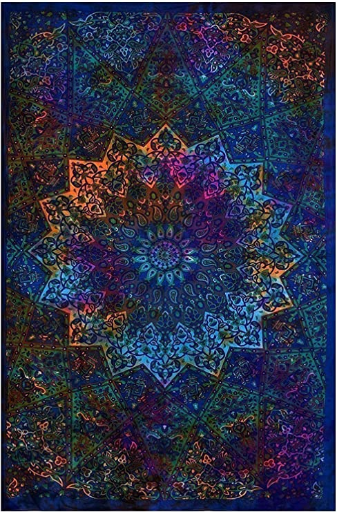 Gokul Handloom Exclusive Multicolor Floral Designs Tapestry Tie Dye Tapestries Bohemian Indian Twin Size Hippie Boho Wall Hanging Hippy Beach Throw Art