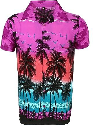 Camisa Hawaiana para Hombre, diseño de Palmeras, para la Playa, Fiestas, Verano y Vacaciones - XL - Morado: Amazon.es: Ropa y accesorios