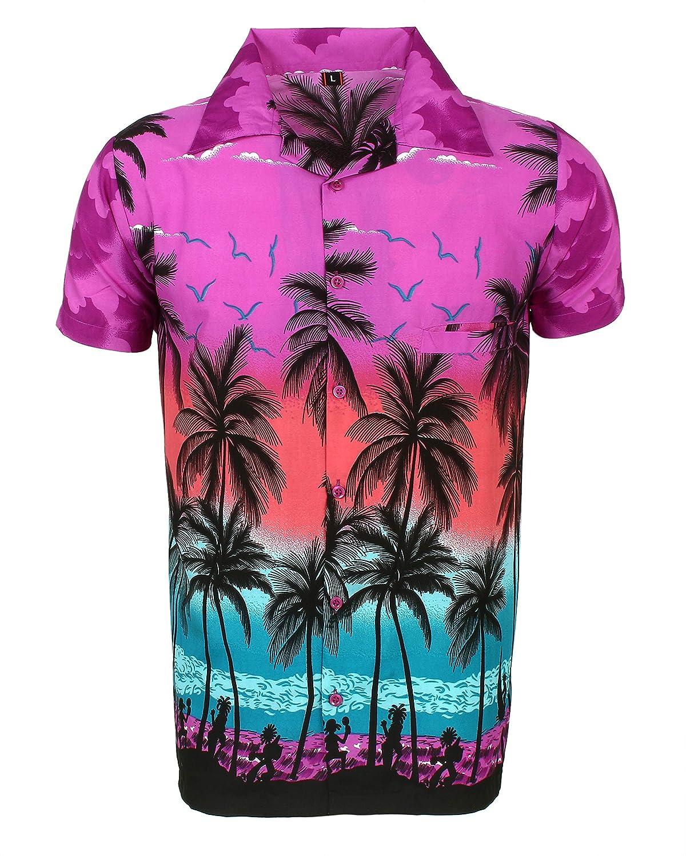 SAITARK Mens Hawaiian Shirt Stag Beach Hawaii Aloha Party Summer Holiday Fancy Palm