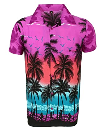 cca6752fc SAITARK Mens Hawaiian Shirt Stag Beach Hawaii Aloha Party Summer Holiday  Fancy Palm: Amazon.co.uk: Clothing