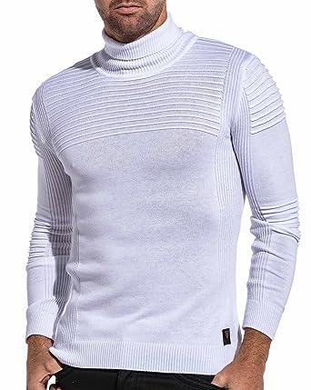 BLZ jeans Pullover gerippte Rollkragen weißer Mann Color