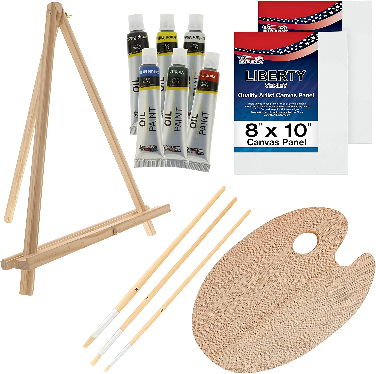 Linxueyi Mini Canvas and Natural Wood Easel Set for Art Painting Drawing Craft Wedding Supply