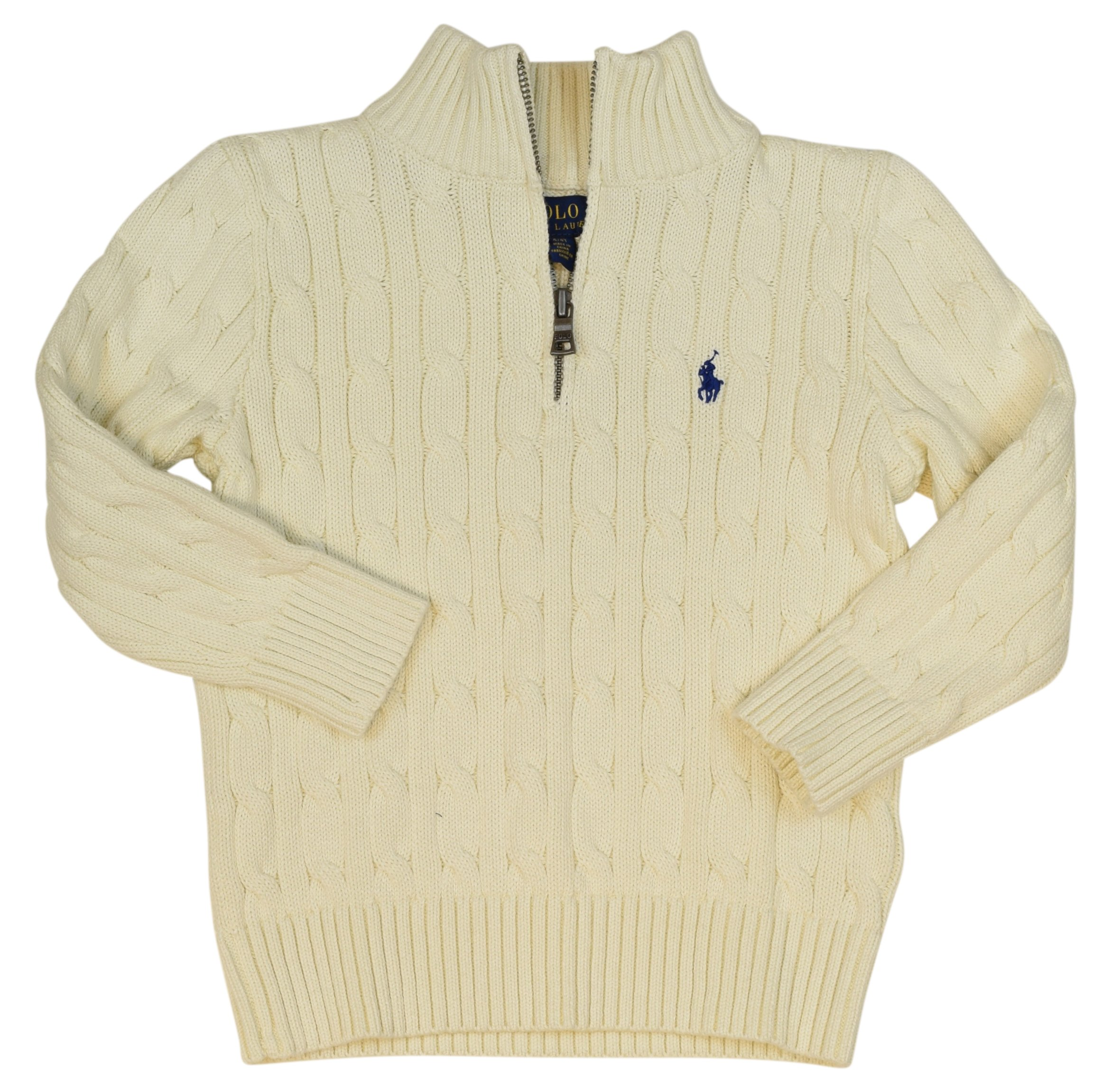 Polo Ralph Lauren Little Boys' Cable Knit 1/2 Zip Sweater - 7 - Chic Cream