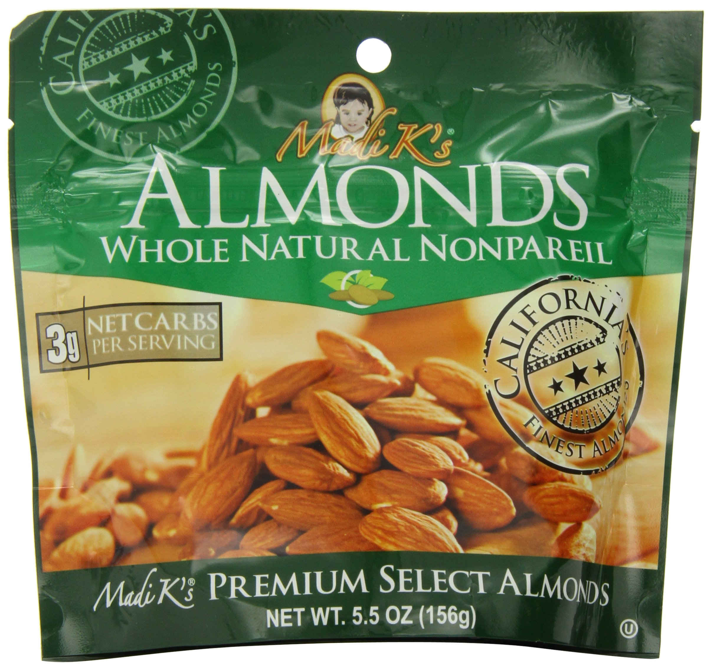 Madi K's Whole Natural Almonds, 5.5-Ounce Pouches (Pack of 12)