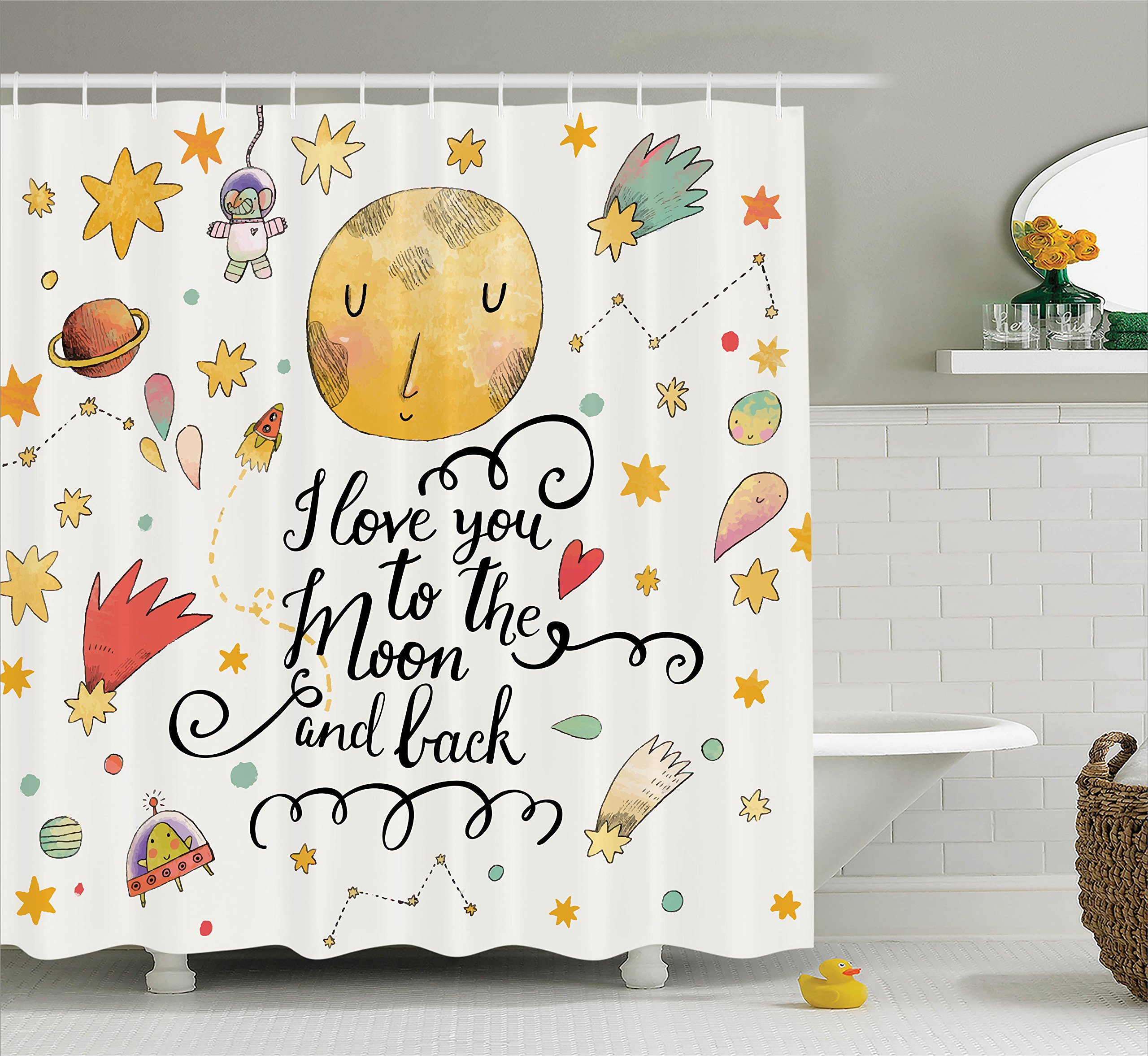 Ambesonne House Decor Collection, ''I Love You to the Moon and Back'' Romantic Quotes Cartoon Planets Moon Astronauts Stars, Polyester Fabric Bathroom Shower Curtain Set with Hooks, Mustard White