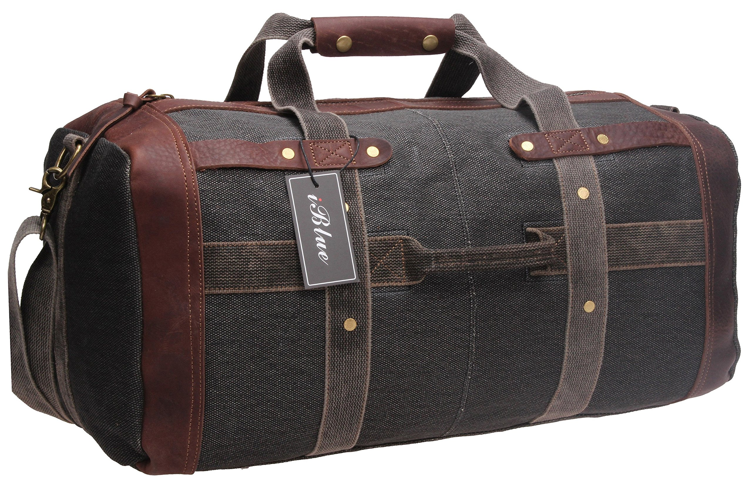 iblue Weekend Bag Travel Duffel Bags for Men Canvas Carry On #B007 (XL, Grey)