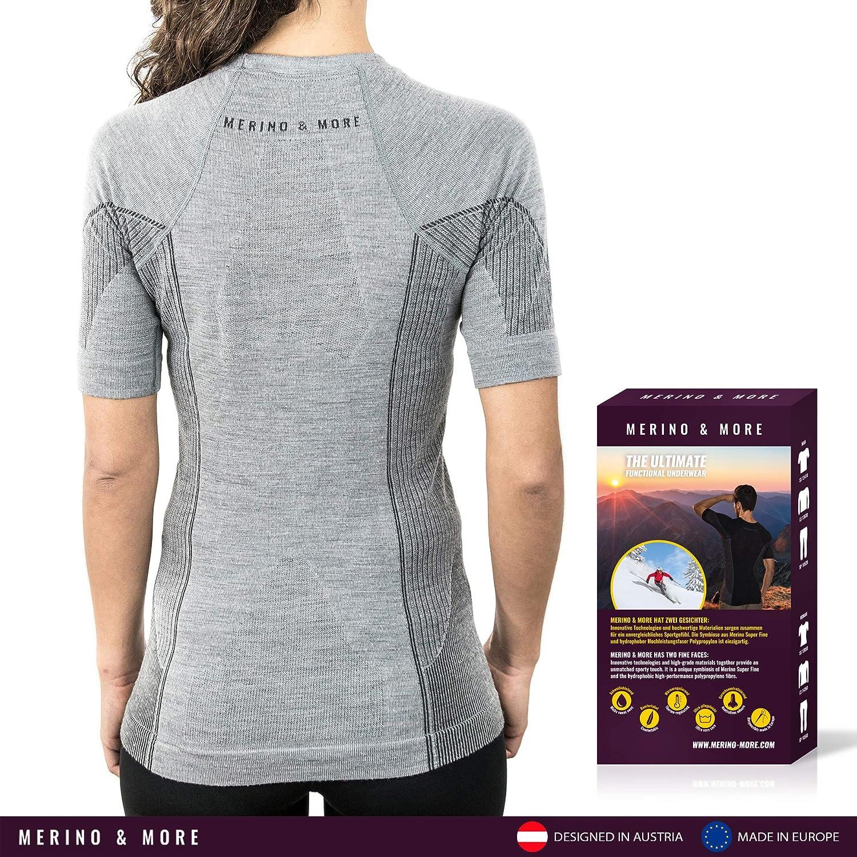 Merinowolle Funktionsshirt Unterw/äsche Kurzarm Merino /& More Merino Shirt Damen T-Shirt