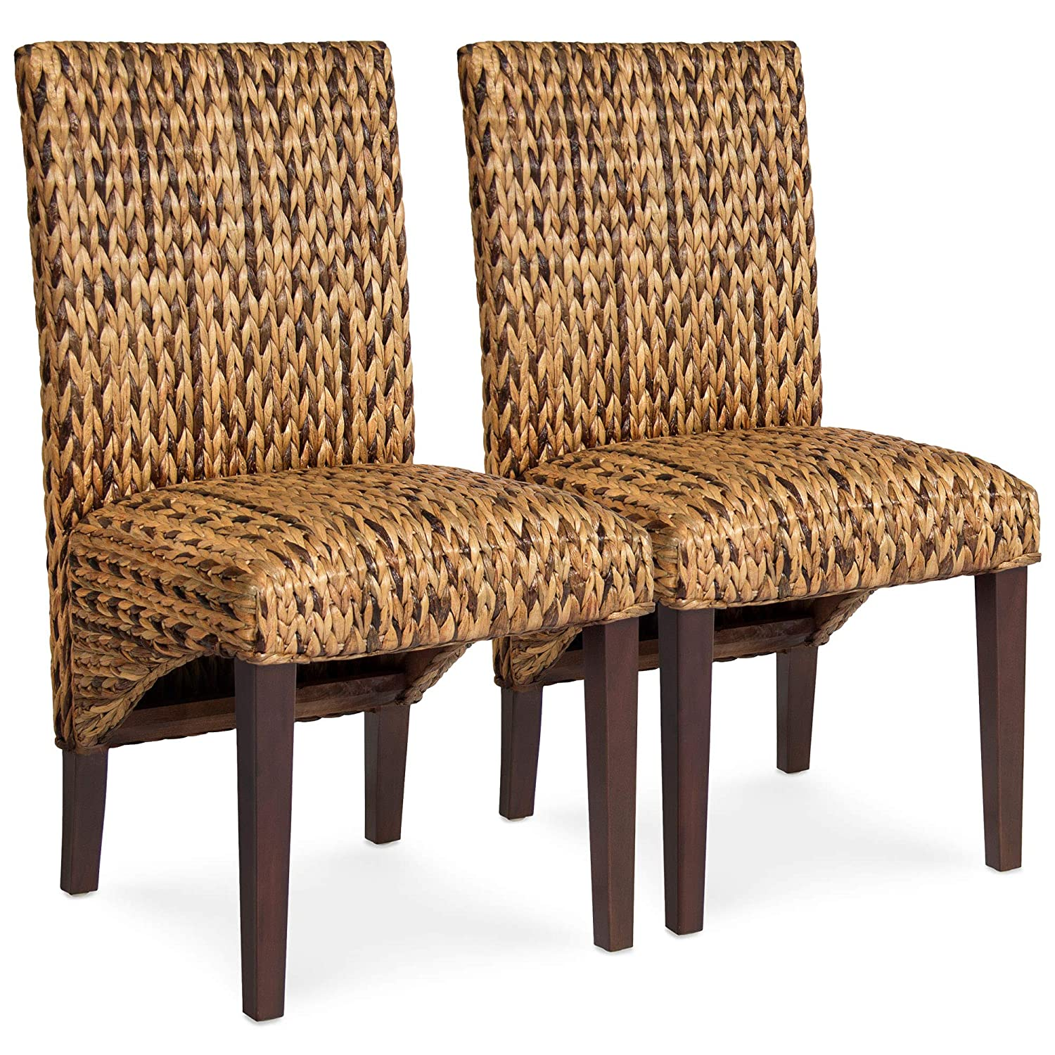 Best Choice Products Set of 2 Elegant Hand Woven Seagrass Dining Side Chairs w/Sturdy Wooden Legs and High Backrest for Home Kitchen, Brown