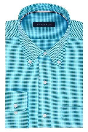 "1cf5b8fb6 Tommy Hilfiger Men's Non Iron Regular Fit Gingham Buttondown Collar Dress  Shirt, Aqua, 14.5"""