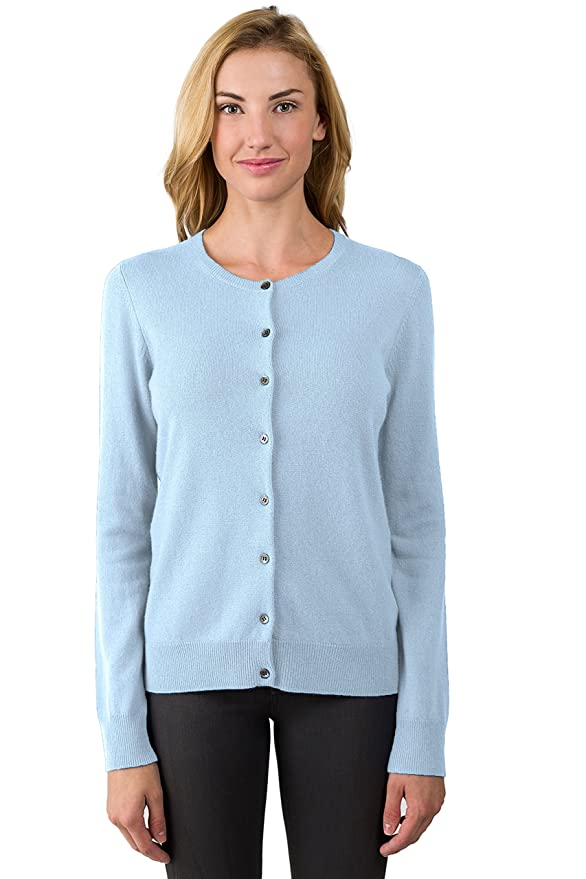 Cashmere Button Front Long Sleeve Crewneck Cardigan Sweater