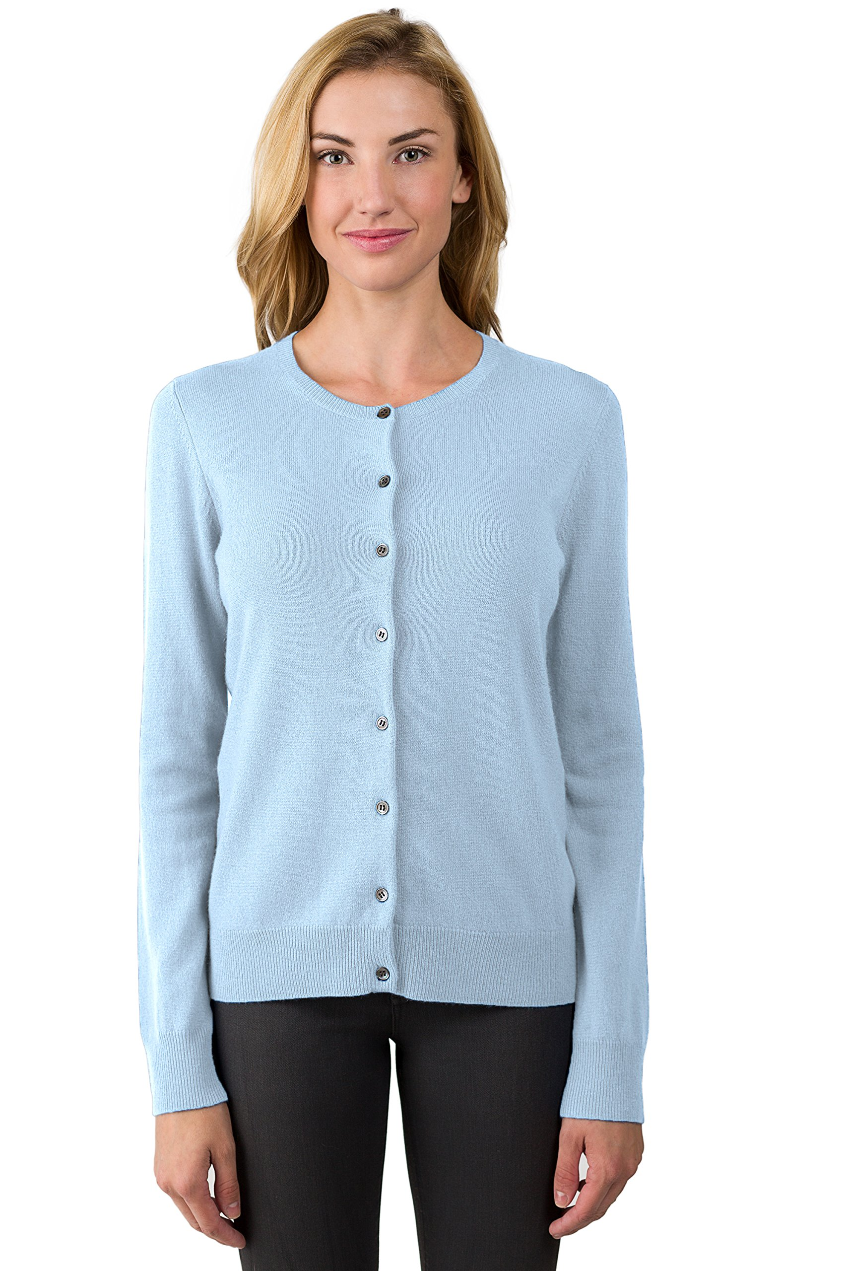 JENNIE LIU Women's 100% Cashmere Button Front Long Sleeve Crewneck Cardigan Sweater (M, Sky)