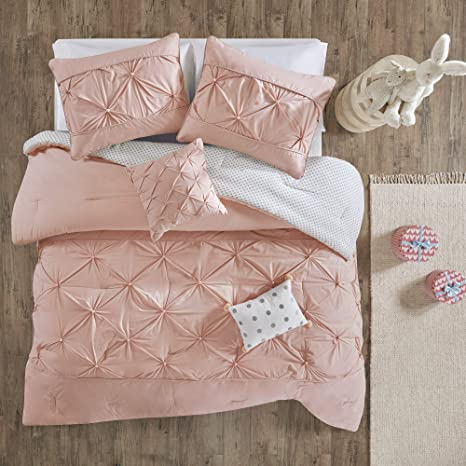 Amazon Com Urban Habitat Kids Uhk10 0080 Aurora 4 Pieces Cotton Reversible Comforter Set Bedding Twin Twin Xl Size Blush Home Kitchen