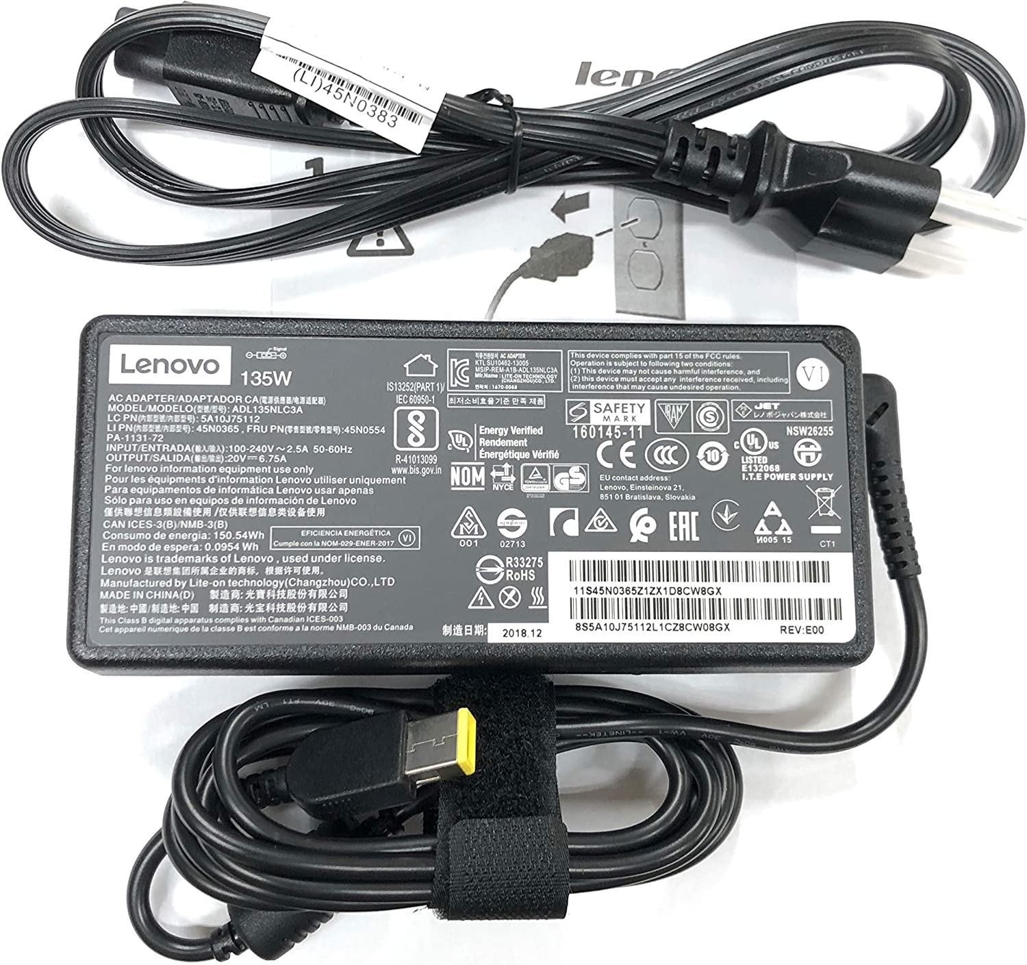 Lenovo 20V 6.7A 135W Slim Tip AC Adapter for Lenovo Y50c Y50p Y700-14ISK ADL135NLC3A 45N0367 PA-1131-72 45N0368 45N0502 (Renewed)