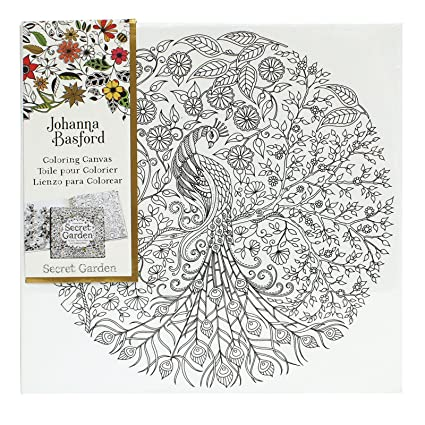 Johanna Basford Secret Garden Coloring Canvas Peacock