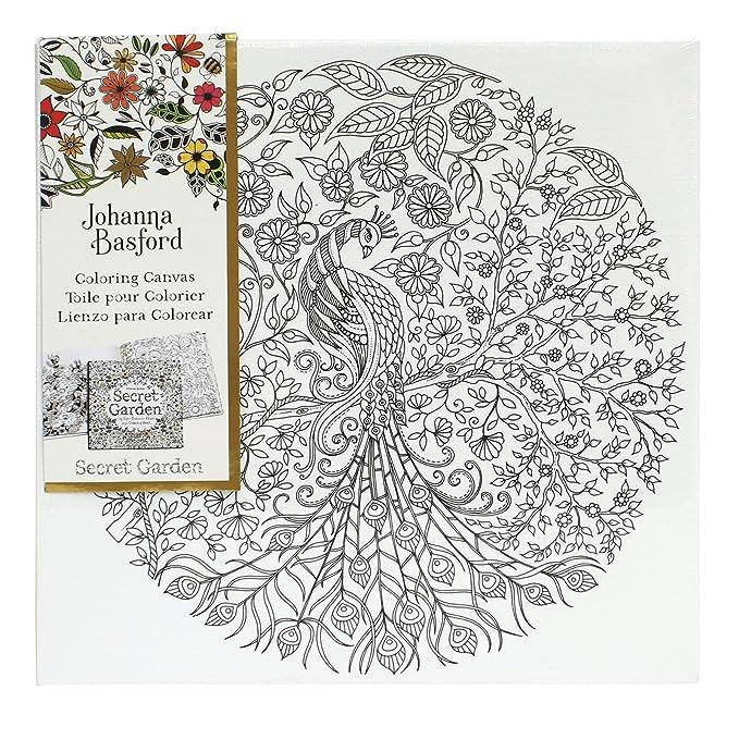 Johanna Basford Secret Garden Peacock 12 X Colour Your Own Canvas Amazoncouk Kitchen Home
