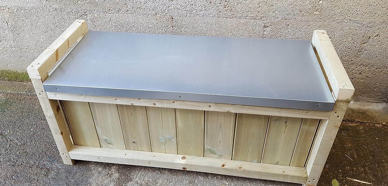 SMILES Wooden Galvanized Steel storage Seat (120cm L x 50cm H x 40cm W) Smileswoodcraft Ltd