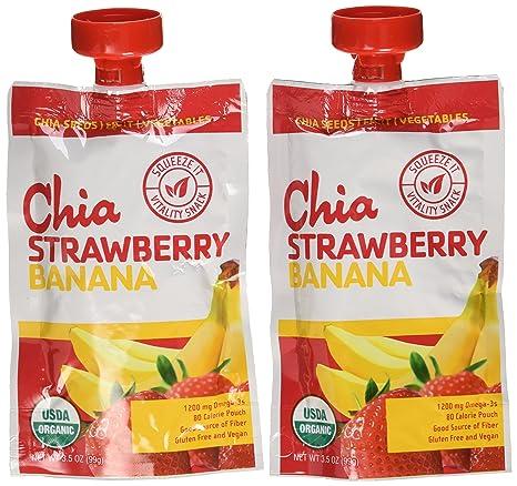 Orgánica Chia Fresa Plátano bolsas – 12: Amazon.com: Grocery ...