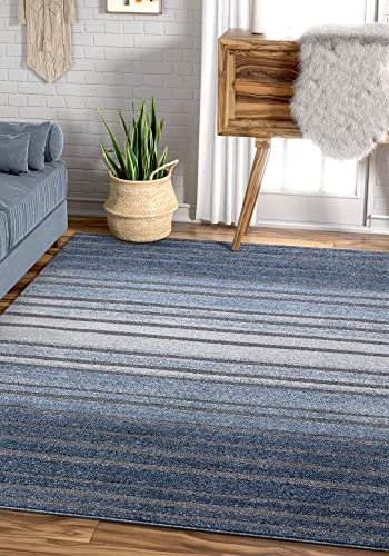 Well Woven Boer Blue Geometric Stripes Pattern Area Rug 8×11 7 10 x 10 6
