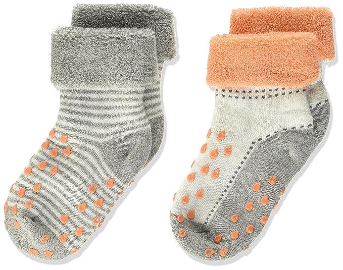 Camano Baby Fashion ABS Crawling Socks 2p, Calcetines Unisex bebé, Gris (Fog Melange