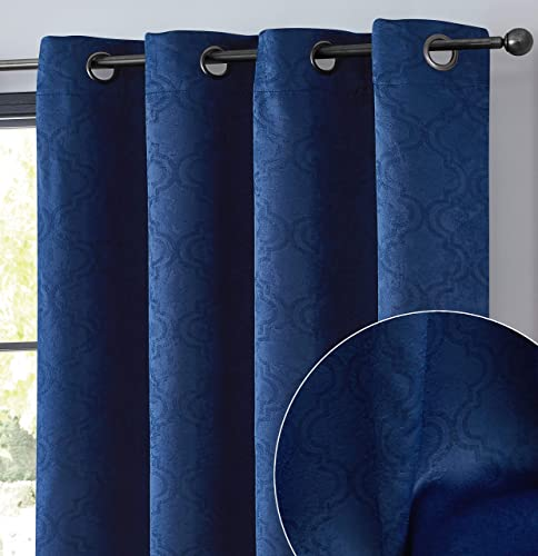 HLC.ME Redmont Lattice Pattern Thick Soft Thermal Insulated Energy Efficient Room Darkening Privacy Blackout Grommet Curtain Panels