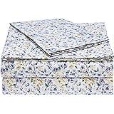 AmazonBasics Microfiber Sheet Set - Twin, Blue Floral
