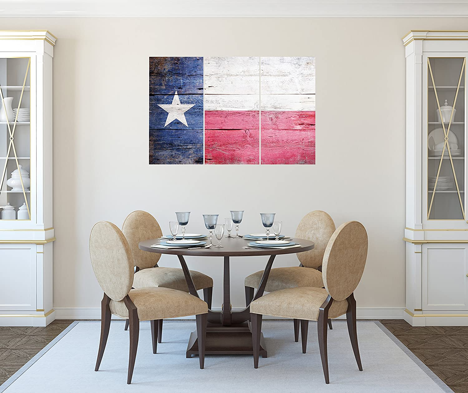 Kitchen 16x36 3 Piece Set Rustic Wood Look for Dining /& Living Room Total 36x48 inch Texas State Flag Canvas Wall Art Decor Bedroom /& Office Lovely Home Essentials - Large Decorative /& Modern Multi Panel Split Prints