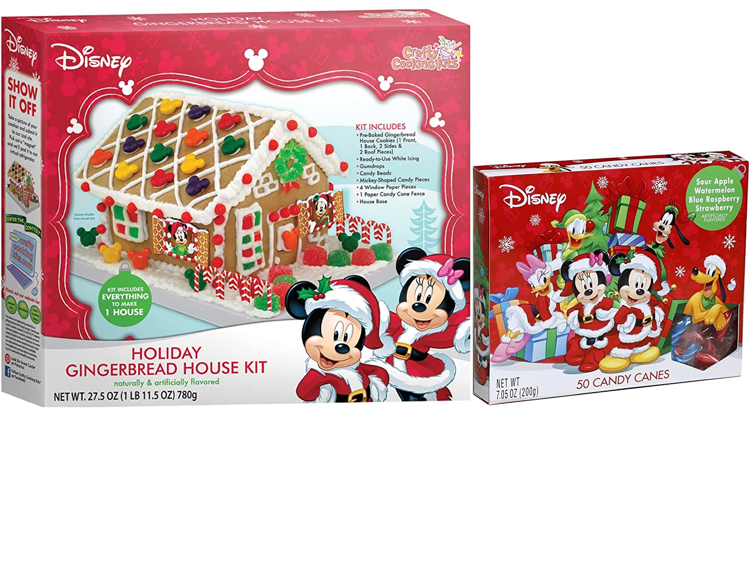 Disney Mickey And Minnie Mouse Christmas Holiday Gingerbread House Craft Kit And Mini Candy