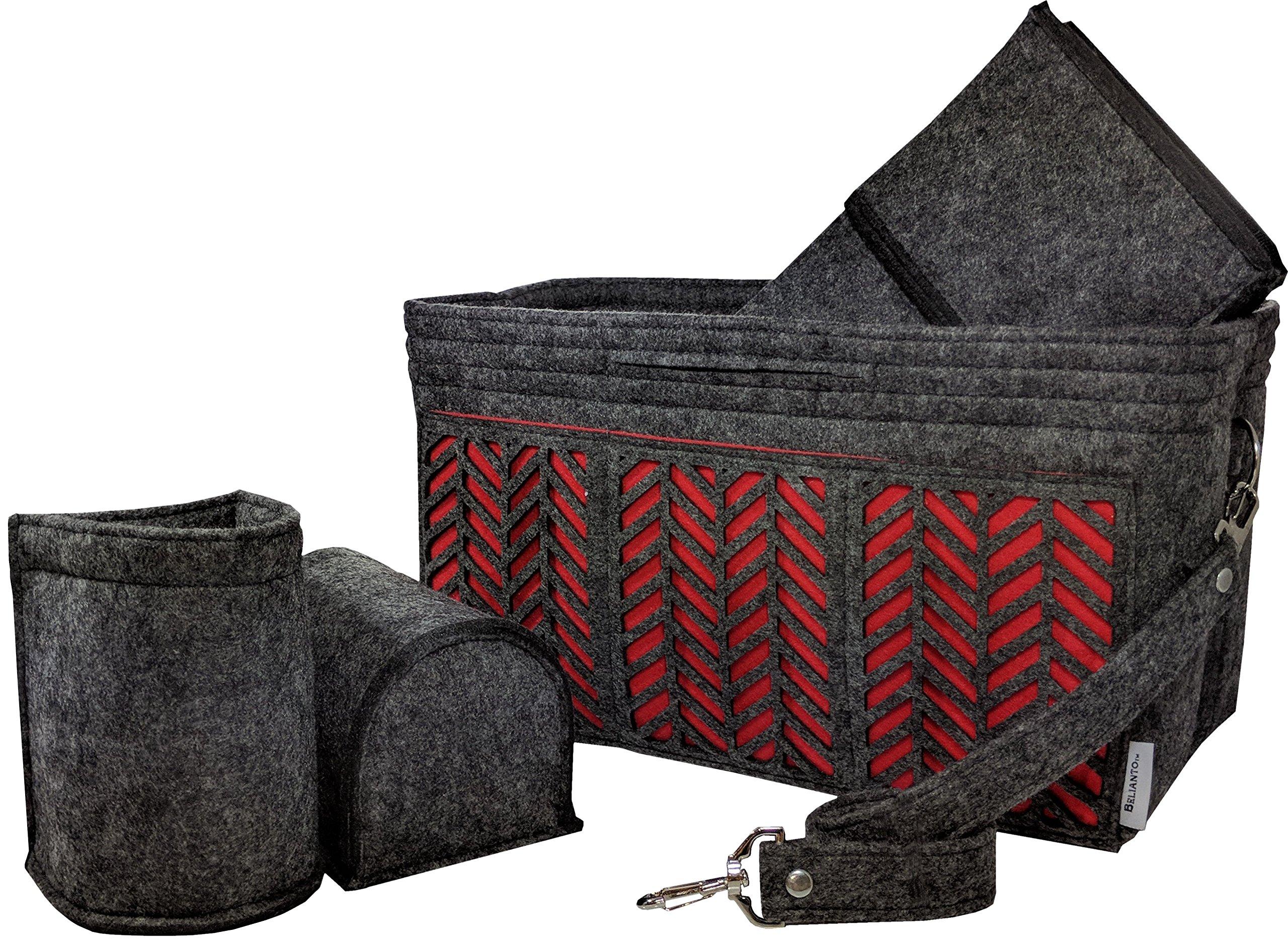 BELIANTO Felt Handbag Tote Purse Organizer Insert with Middle Insert, Bottle Holders, Key finder, D rings (Herringbone Pattern) (X-Large, Dark Grey) by BELIANTO