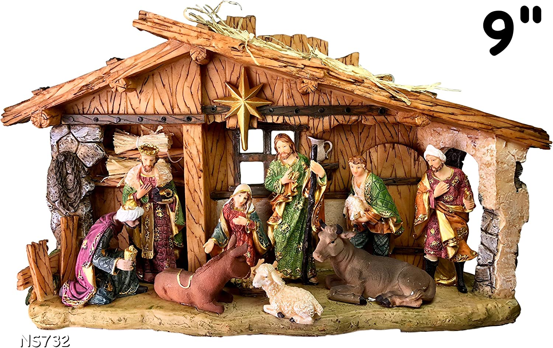 Set 10 shepherds for Crib Neapolitan Christmas Figurines Nativity 9 cm