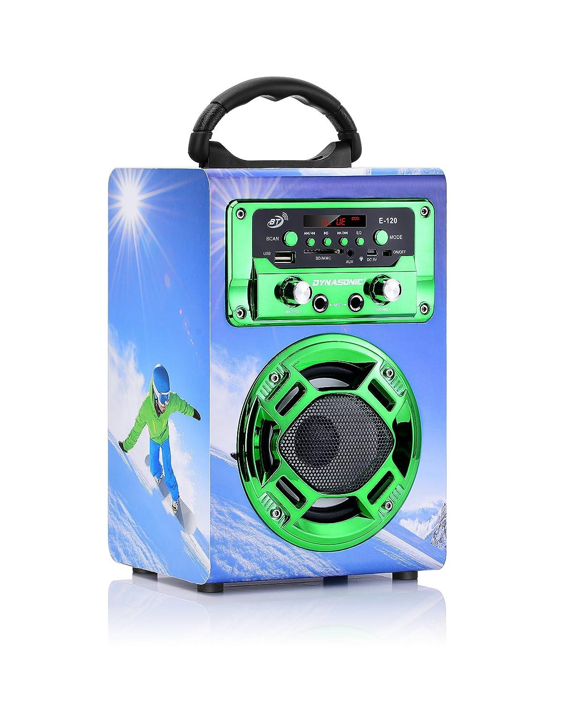 Lettore schede USB//SD Compatibile con telefoni computer DYNASONIC 120 con Radio FM Mini altoparlante bluetooth portatile con modalit/à Karaoke con microfono incluso colore oro