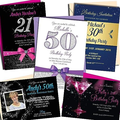 50th birthday invitations amazon sienna mai personalised birthday invitationsparty invites choose from 60 stunning designs 18th 21st filmwisefo