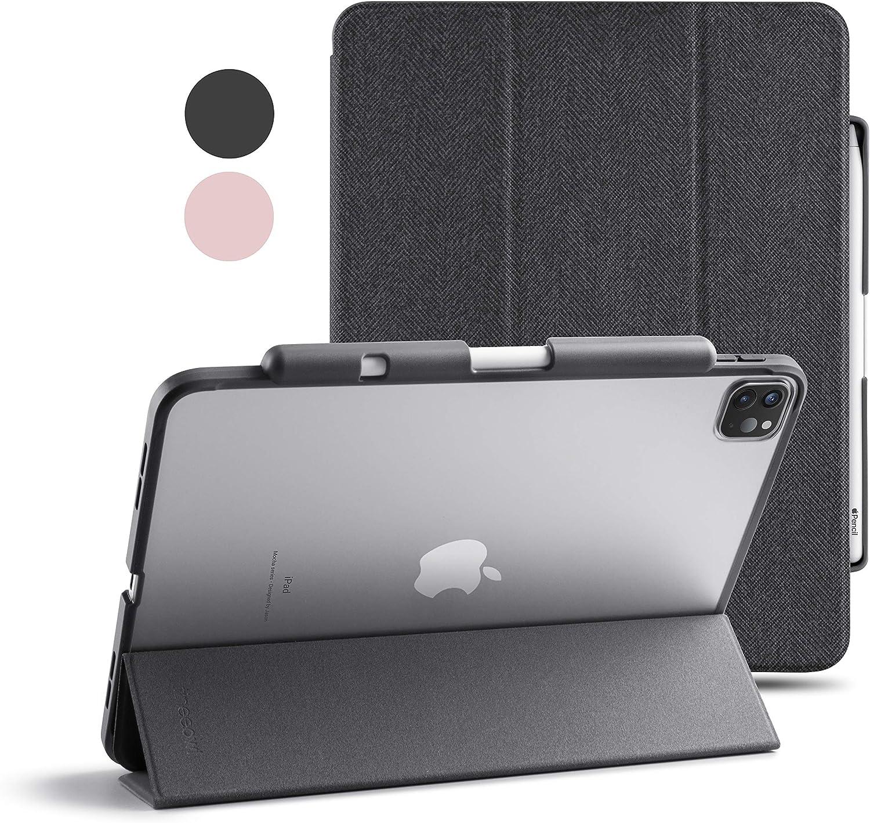 TineeOwl Mocha (Improved) iPad Pro 11 case 2020 & 2018 (2nd & 1st Generation) Ultra Slim Matte Case with Pencil Holder + Tri-fold Smart Cover, Absorbs Shock, Lightweight (Matte Back/Black)