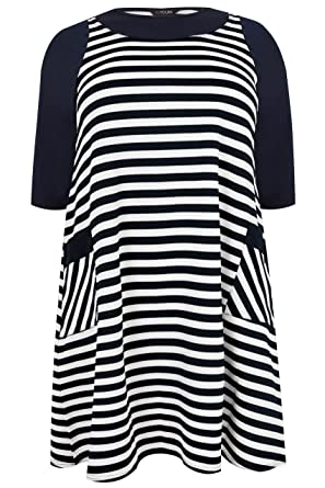 a79998f6aea Yours Clothing Women's Plus Size Striped Tunic Dress with Pockets Size 18  Navy