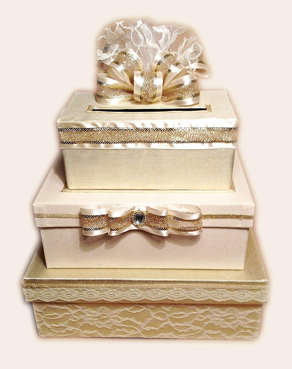 Wedding Card Holder.Gold Wedding Card Box Card Holder 3 Tier Stacked Lace Handmade Allthebestcardboxes
