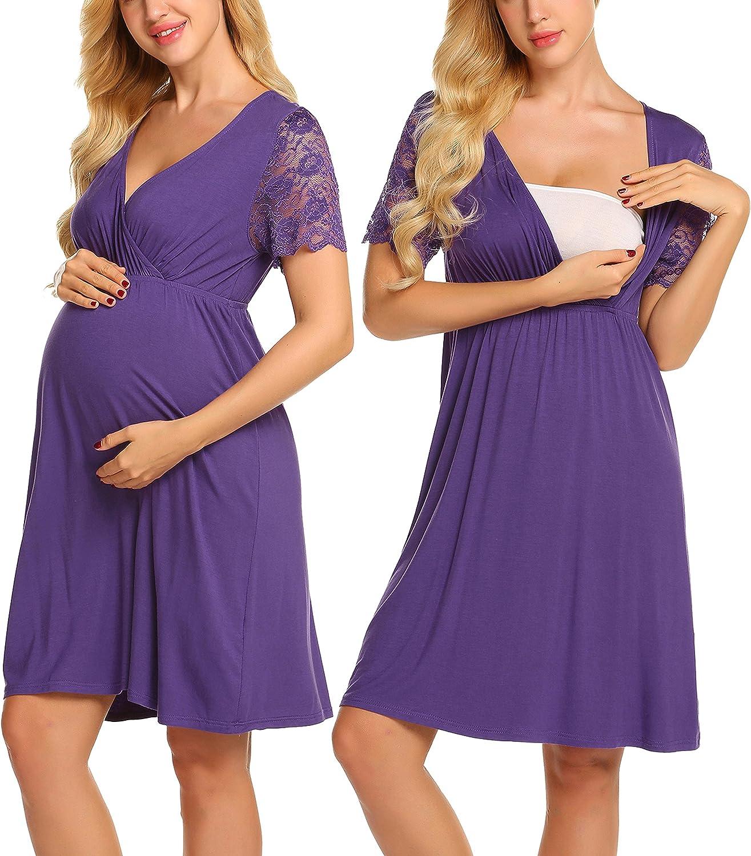 MAXMODA Womens Delivery//Labor//Maternity//Nursing Nightgown Pregnancy Gown for Hospital Breastfeeding Dress