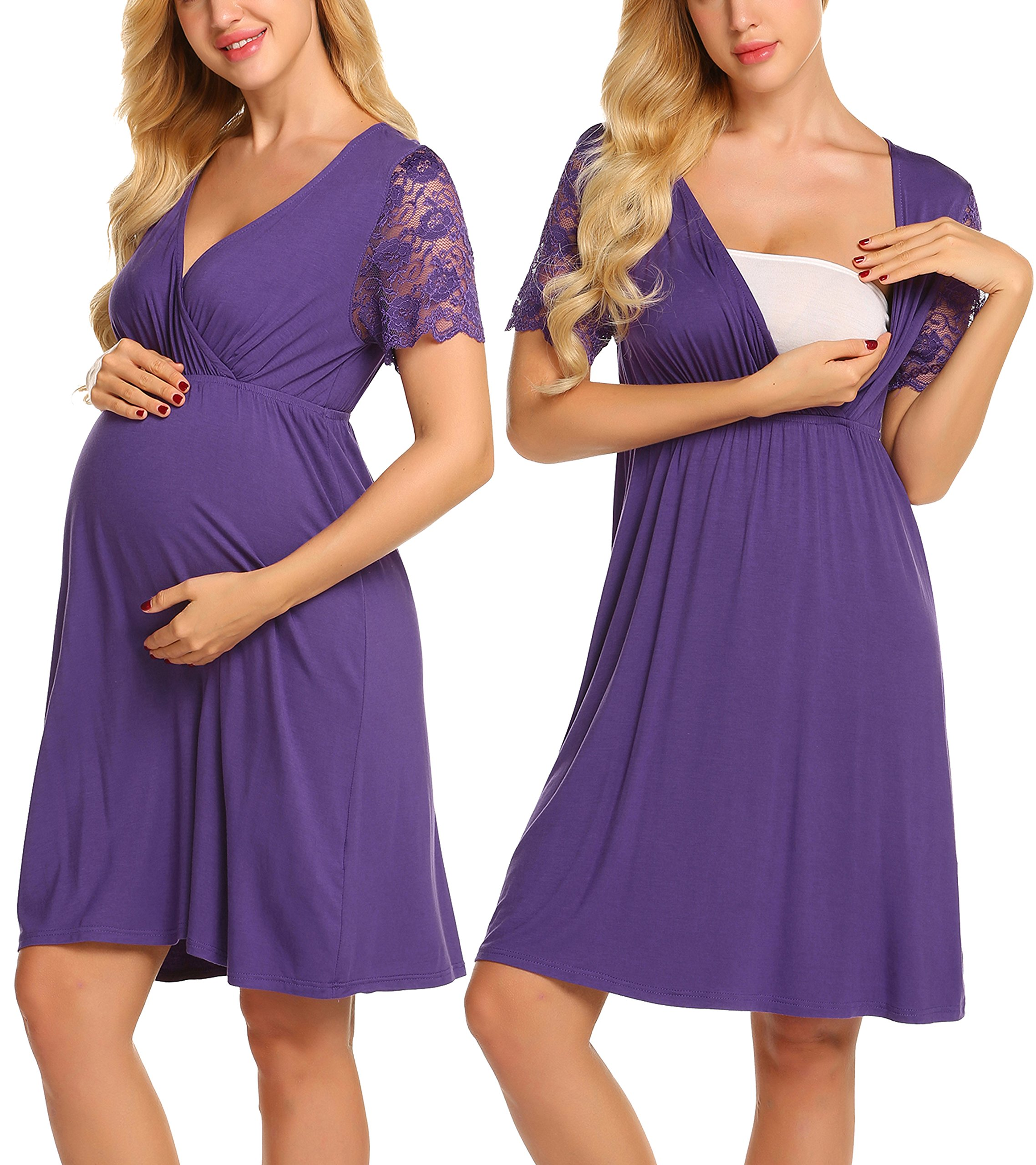MAXMODA Womens' Maternity Nightgown Wrap Sleep Dress Solid Color Night Suits Casual Top (Purple/M)