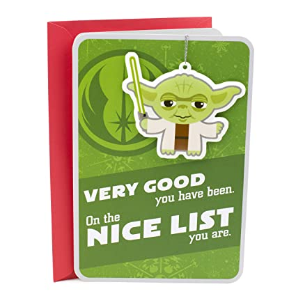 hallmark star wars christmas card with yoda ornament