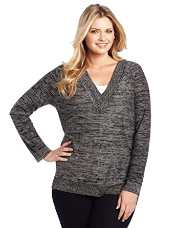 56c1ffa8f60f1 Jones New York Women s Plus-Size V-Neck Tunic Sweater