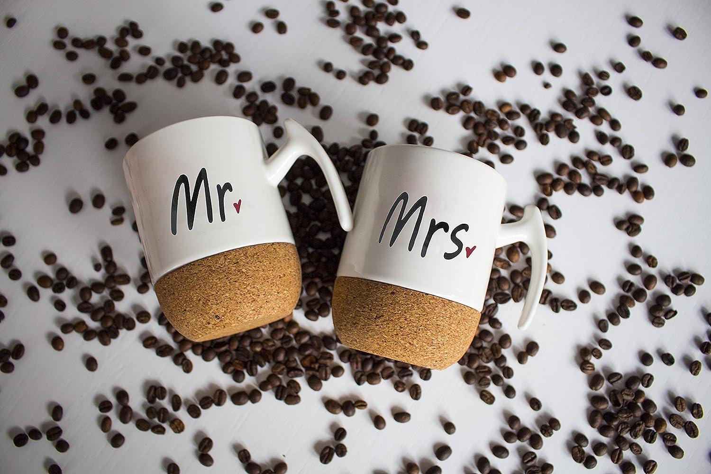 Kaffeetassen//Kaffeebecher mit Korkboden Geschenkset Mr /& Mrs Eltern