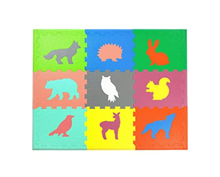 Woodland Animals Play Mat Non Toxic Crawl Mat with Softer, Thicker EVA Foam for Fall Protection, 9 Tiles 9 Inserts 12 Borders, Patent Pending, 4.5 x 3.5 , Multicolor by Cake Smash