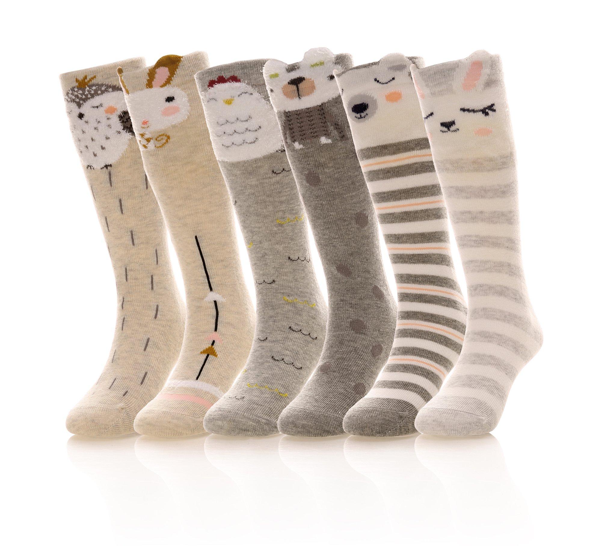 Eocom Girls Socks Knee High Stockings Animal Warm Cotton Socks (6 Pairs)