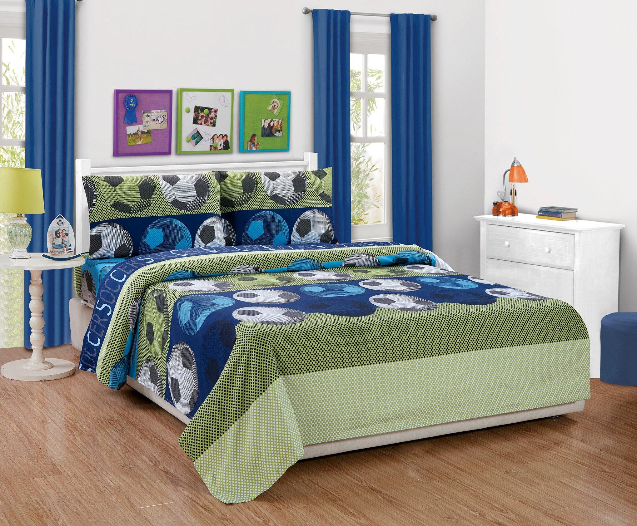 MK Home Mk Collection 4pc Full Sheet Set Soccer Light Blue Green Navy Blue White Black New
