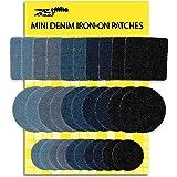 Zefffka Muy Pequeña Mezclilla Hierro En Parches Termoadhesivos Denim Jeans Algodón Pantalones Vaqueros Tonos De Azul Negro 30 Piezas Juego de reparación de 2,5 cm a 3,5 cm