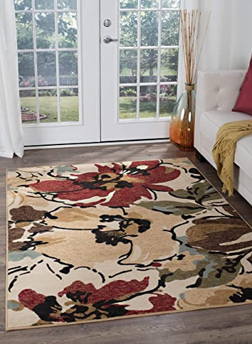 Tayse Cali Beige 5×7 Rectangle Area Rug for Living, Bedroom, or Dining Room – Contemporary, Floral