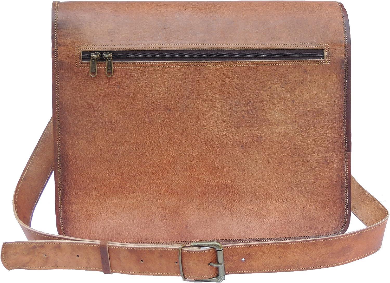 Goat Leather Laptop Messenger Bag 15.5 Inch Cross Body Vintage Style Shoulder Travelling Laptop Bag for Women /& Men Brown